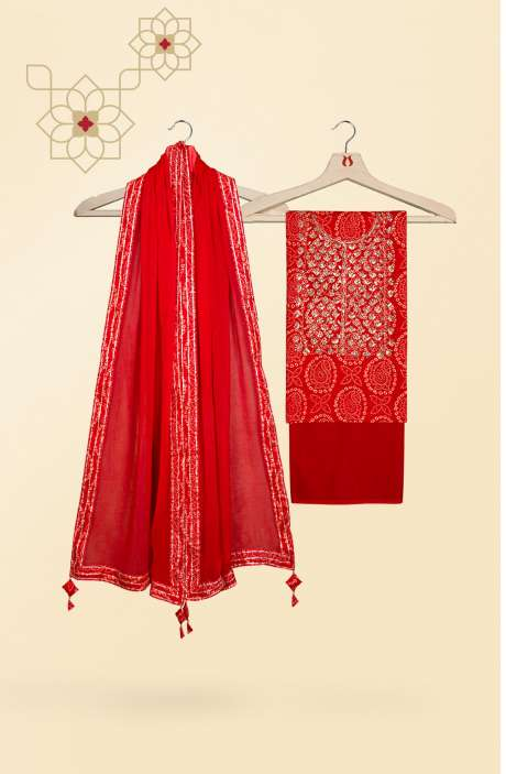 Beautiful Bandhej Printed Cotton Salwar Kameez In Red - 693-JFJ1955A
