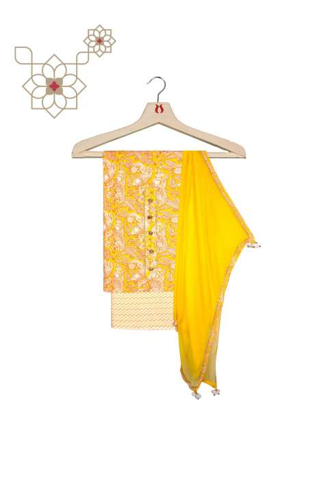 Cotton Digital Printed Unstitched Salwar Kameez In Yellow & Cream with Chiffon Dupatta - 693-RRF3848