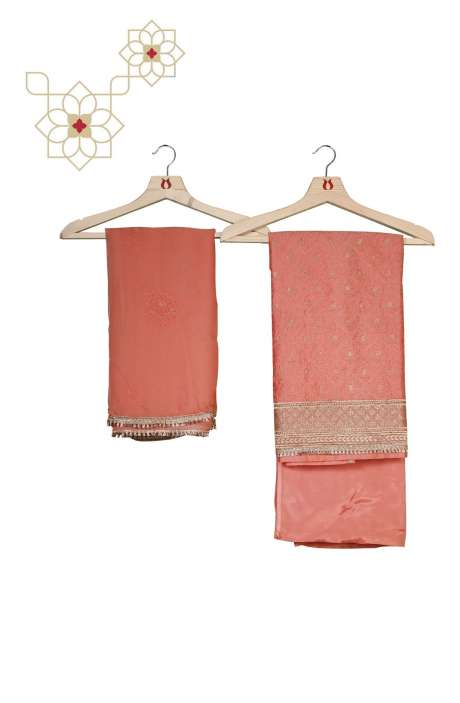 Chanderi Peach Unstitched Salwar Suit Set - 699-14090B
