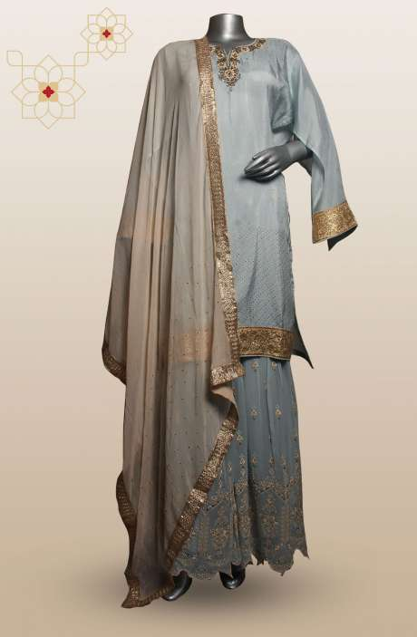 Uppada Silk Embellished Pastel Green Semi-Stitched Sharara Sets - 752-2571