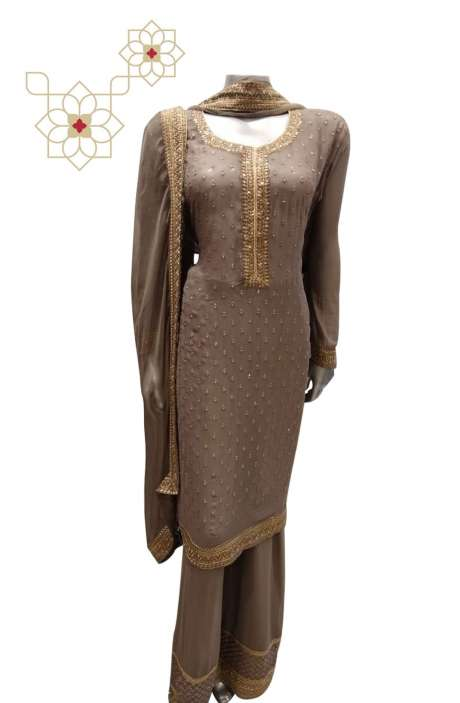 Georgette Semi-stitched Designer Palazzo Suit Sets in Grey - 765-8941