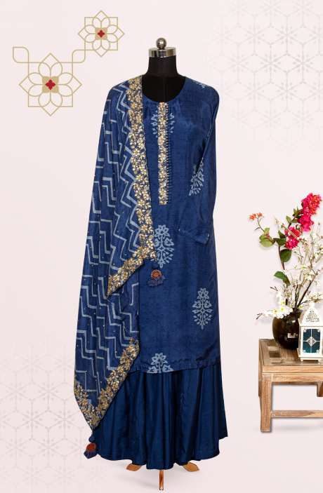 Blue Modal Cotton Party Wear Readymade Palazzo Suit - 767-AO537B