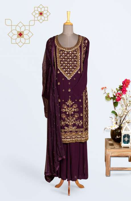Designer Georgette Partywear Stitched Palazzo Suit In Wine - 767-E1153AA