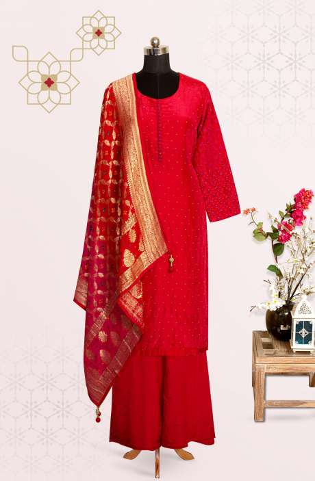 Karva Chauth Special Red Silk Readymade Palazzo Suit with Beautiful Dupatta - 767-EH346ST