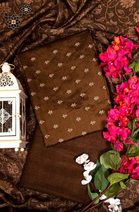Pure Tussar Silk Beautiful Digital Printed Unstitched Suit In Brown - 799-4717
