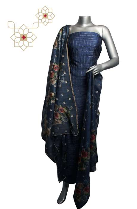 Tussar Silk Zari Printed Stripes Blue Salwar Suit Sets with Banarasi Dupatta - 799-7088C