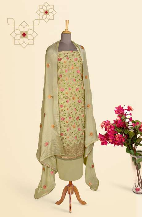 Beautiful Embroidered Exclusive Partywear Chinon Salwar Suit In Lime - 811-US3104D