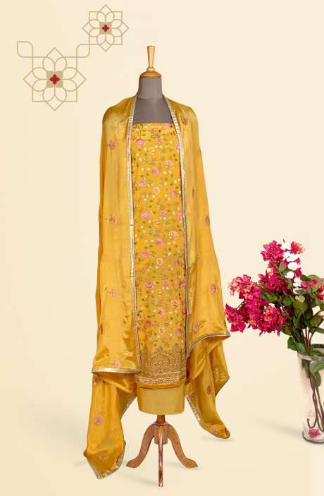 Beautiful Embroidered Exclusive Partywear Chinon Salwar Suit In Yellow - 811-US3104E