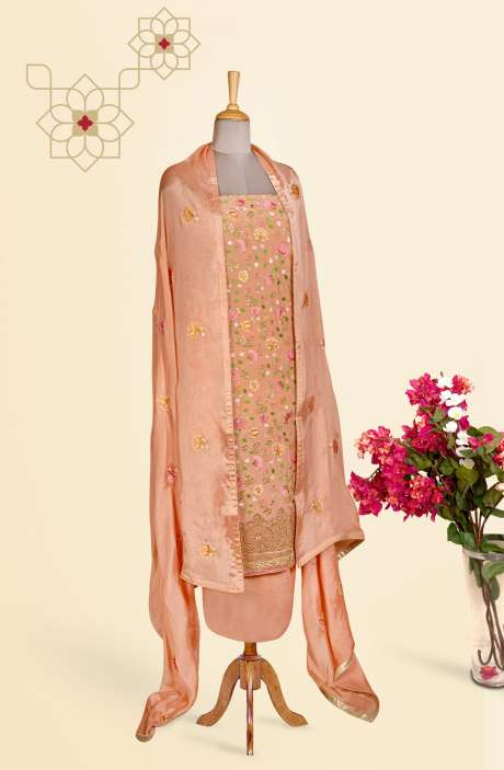 Beautiful Embroidered Exclusive Partywear Chinon Salwar Suit In Peach - 811-US3104F