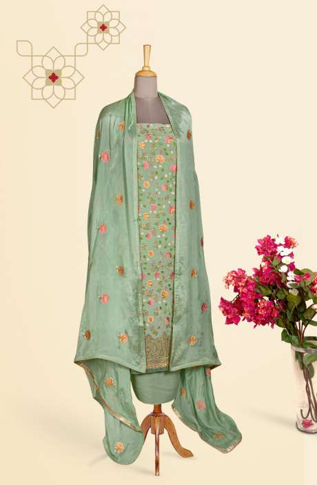 Beautiful Embroidered Exclusive Partywear Chinon Salwar Suit In Sea Green - 811-US3104G