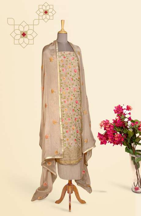 Beautiful Embroidered Exclusive Partywear Chinon Salwar Suit In Beige - 811-US3104H