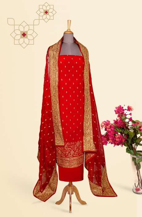 Designer Exclusive Partywear Chinon Zari Embroidered Salwar Suit In Red - 811-US3886BA