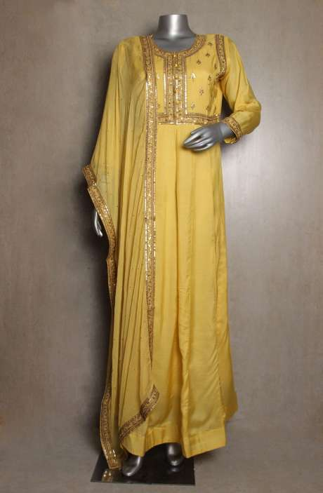 Yellow Chanderi Cotton Floor Length Anarkali Kurta with Chiffon Mukaish Work Dupatta - 822-2891