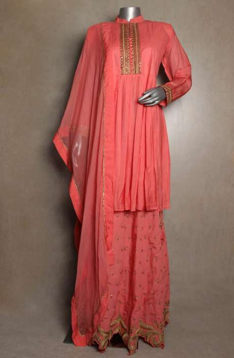 Readymade Designer Cotton Satin Peach Kurta with Skirt & Dupatta - 822-2934