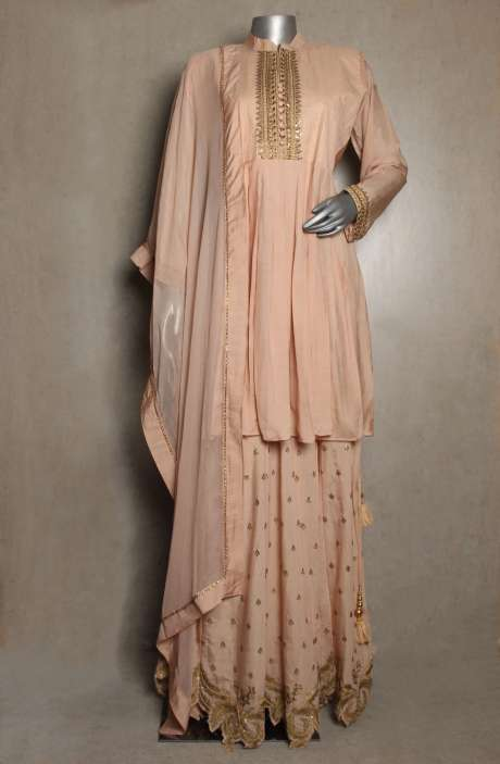 Readymade Designer Cotton Satin Beige Kurta with Skirt & Dupatta - 822-2934A