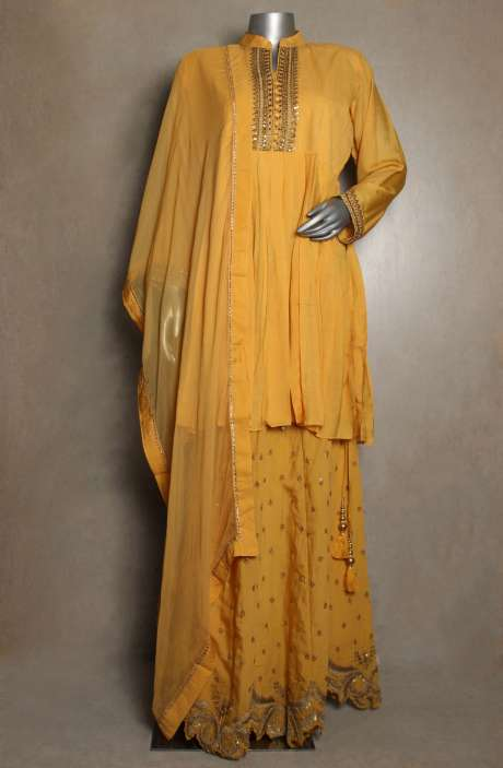 Readymade Designer Cotton Satin Mustard Yellow Kurta with Skirt & Dupatta - 822-2934B