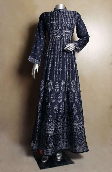 Designer Blue Digital Printed Modal Cotton Stitched Anarkali Gown with Mirror & Hand Work - 822-3049