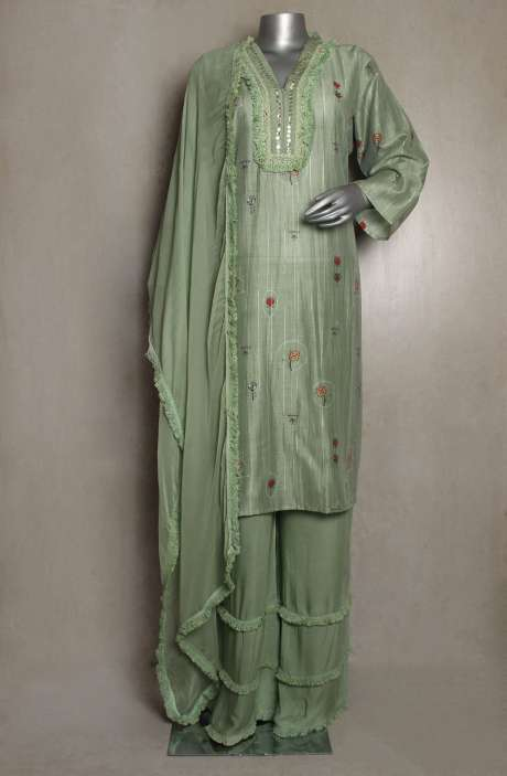 Chanderi Cotton Readymade Green Palazzo Suit Sets - 822-3257