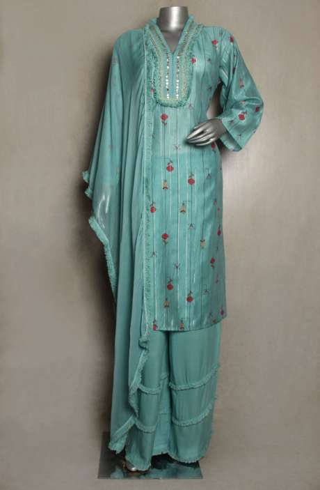 Chanderi Cotton Readymade Sea Green Palazzo Suit Sets - 822-3257A