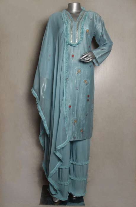 Chanderi Cotton Readymade Bluish Grey Palazzo Suit Sets - 822-3257B