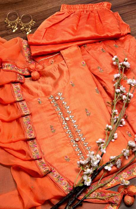 Semi-stitched Chanderi Kameez with Stitched Palazzo Pants In Orange - 822-4842