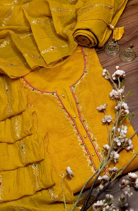 Semi-stitched Chanderi Salwar Suit In Mustard Yellow - 822-4964