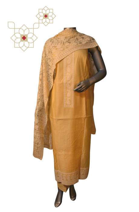 Beautiful Embroidery Chikankari Work Chanderi Suit Sets in Yellow - 888-4213B