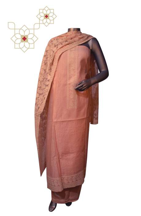 Beautiful Embroidery Chikankari Work Chanderi Suit Sets in Peach - 888-4213C
