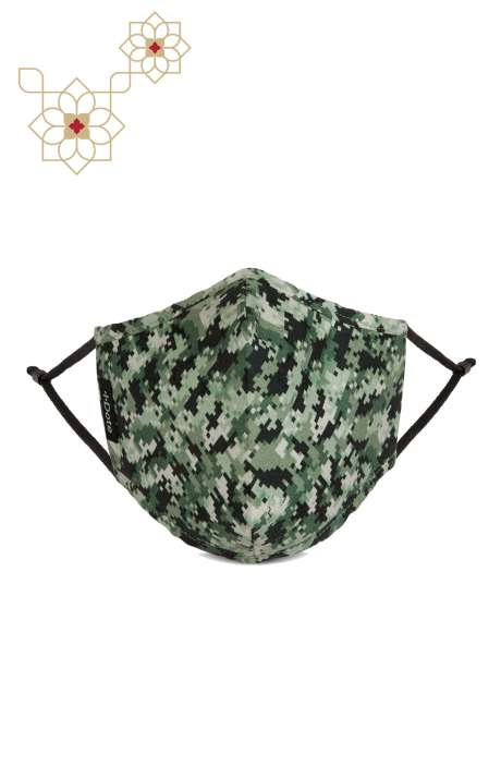 Superfine Soft Cotton Printed Antiviral Reusable Stylish Face Mask In Camo Green - 8905315000023