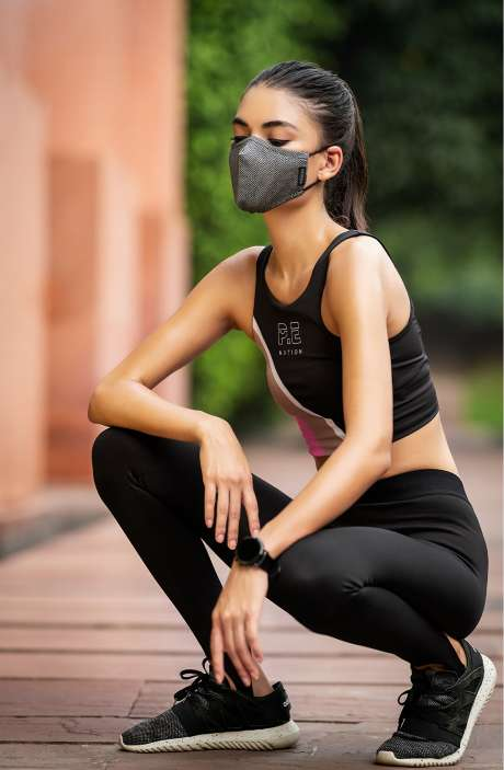 Superfine Soft Cotton Zig Zag Pattern Trendy Antiviral Face Mask In Core Slate with Pouch - 8905315000146