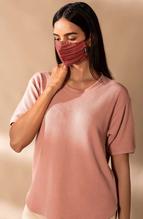 Superfine Soft Cotton Print Stylish Antiviral Face Mask In Crimson Chevron with Pouch - 8905315000184