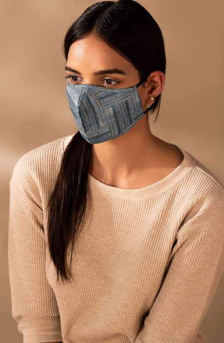 Superfine Soft Cotton Antiviral Reusable Stylish Face Mask In Voltaic Grid with Pouch - 8905315000252
