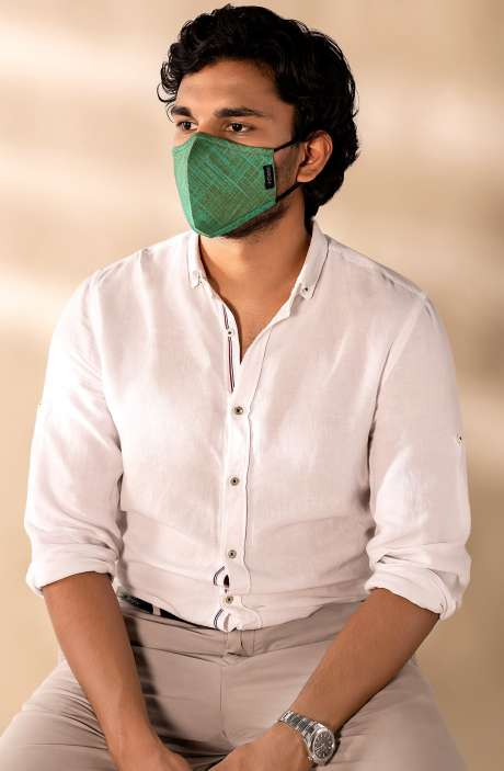 Superfine Soft Cotton Print Antiviral Face Mask In Emerald Streak with Pouch - 8905315000306