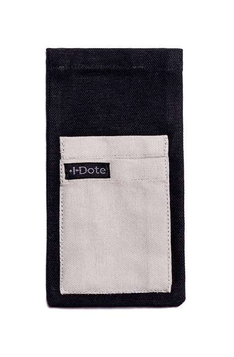 Cotton Canvas Antiviral Mobile Phone Sleeve In Grey on Black - 8905315000450