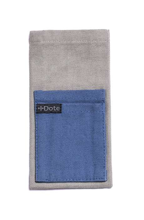 Cotton Canvas Antiviral Mobile Phone Sleeve In Blue on Grey - 8905315000467