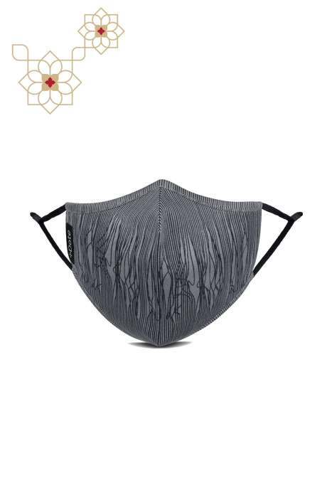 Superfine Soft Cotton Printed Antiviral Reusable Stylish Face Mask In Grey Lines - 8905315000825
