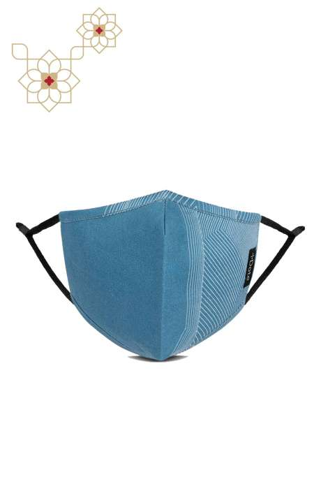 Superfine Soft Cotton Printed Antiviral Reusable Stylish Face Mask In Diversion Blue - 8905315001303