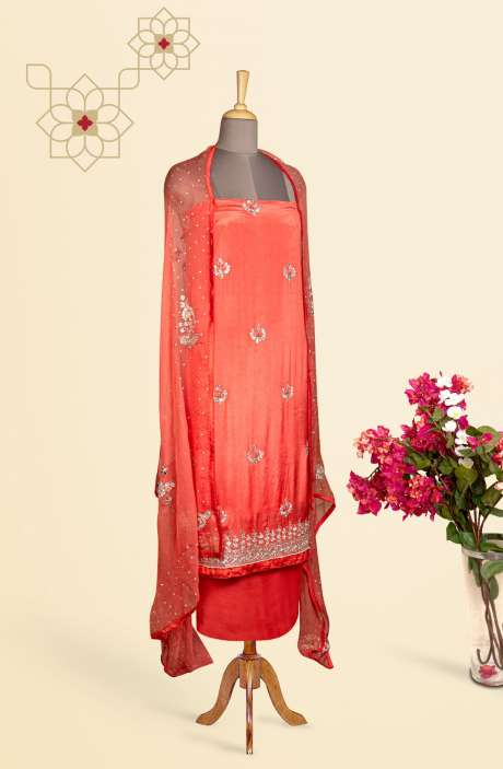 Designer Exclusive Unstitched Partywear Chinon Salwar Kameez In Peach - 897-I483