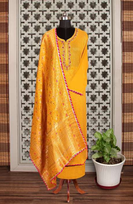 Designer Exclusive Partywear Georgette Kundan Work Salwar Suit In Mustard with Banarasi Silk Dupatta - 908-203