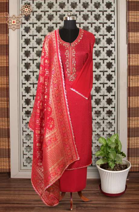 Designer Exclusive Semi-stitched Partywear Georgette Suit Set In Rani Pink with Banarasi Silk Dupatta - 908-203D