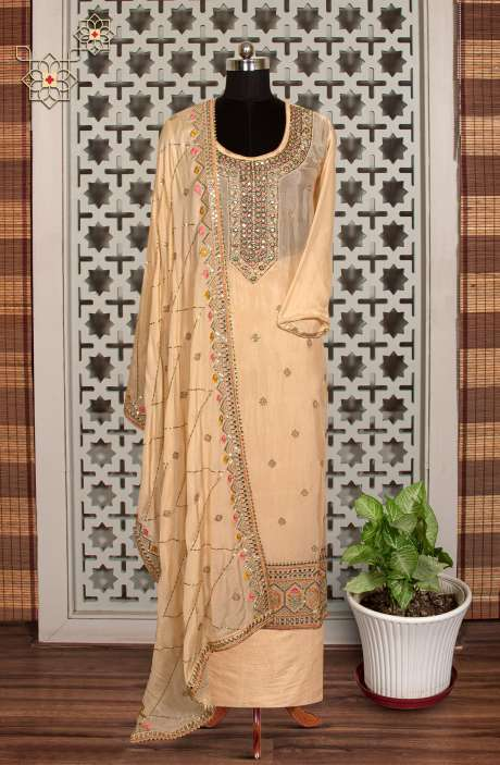 Chinon Designer Partywear Suit in Fawn with Trendy Dupatta - 908-236A