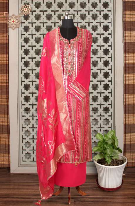 Designer Exclusive Semi-stitched Partywear Georgette Suit Set In Rani Pink with Banarasi Silk Dupatta - 908-444F