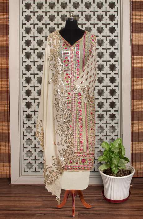 Designer Exclusive Semi-stitched Partywear Georgette Salwar Suit In Cream - 908-51