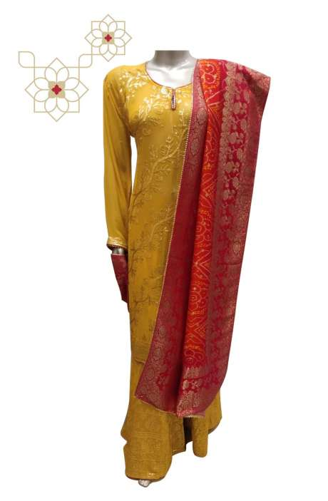Partywear Georgette Stitched Sharara Suit Sets in Mustard Yellow - 908-576
