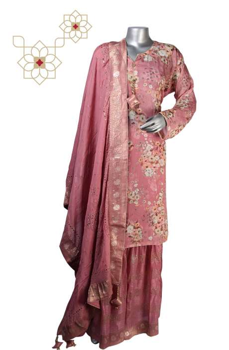 Designer Semi-formal Partywear Crepe Ready-to-Wear Sharara Suit Sets in Mauve - 908-583A