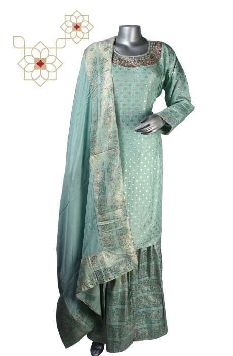 Designer Semi-formal Partywear Crepe Ready-to-Wear Sharara Suit in Sea Green - 908-589A