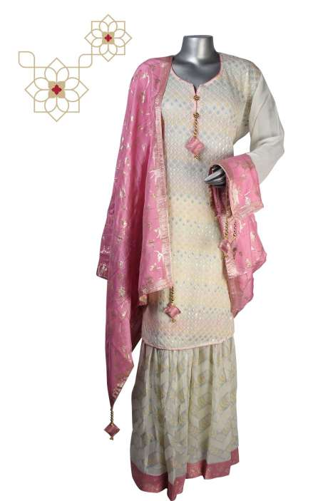 Exclusive Designer Semi-formal Partywear Georgette Stitched Sharara Suit Sets in Cream - 908-605