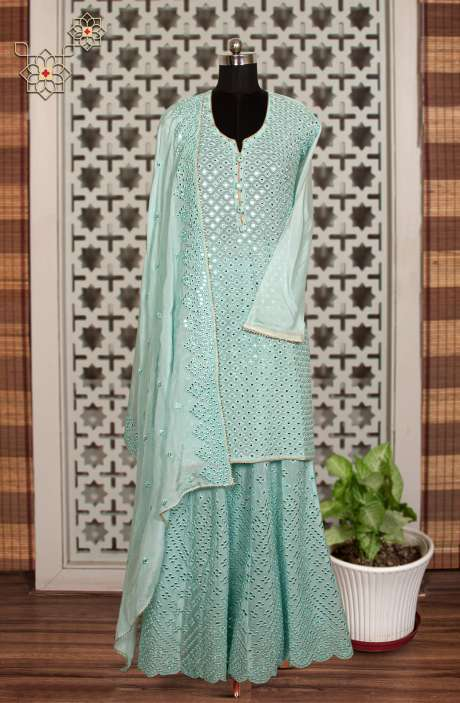 Chinon Designer Partywear Suit in Sea Green with Trendy Dupatta - 908-740