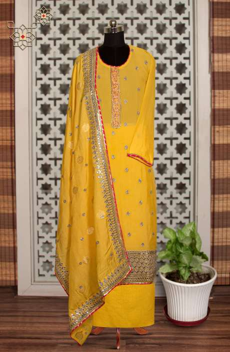 Chinon Designer Partywear Suit in Yellow with Trendy Dupatta - 908-758A