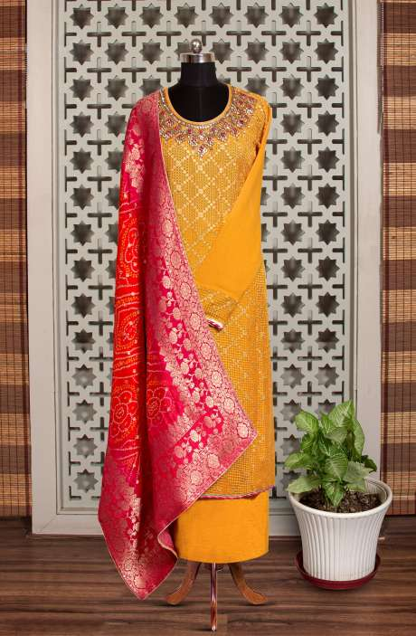 Designer Exclusive Partywear Georgette Kundan Work Salwar Suit In Mustard with Banarasi Silk Dupatta - 908-634
